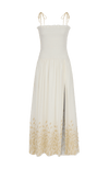 Dove smocked maxi dress white