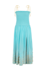 Dove maxi dress smocked blue
