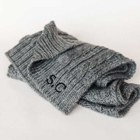 Grey Cable Knit Scarf