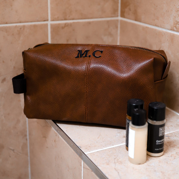 Leather Look Toiletry Bag - Brown