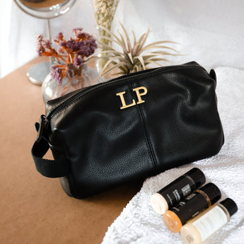 Leather Look Toiletry Bag - Black
