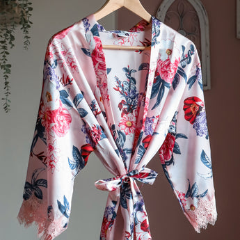 Light Pink Floral Satin Robe