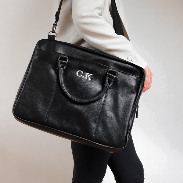 Faux Leather Laptop Bag Personalised laptop bag initials bag
