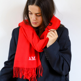 Red Pashmina Scarf, Personalised Scarf, Personalised Red Scarf
