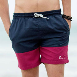 Navy & Burgundy Swimshorts - TreasurePersonalisedGifts
