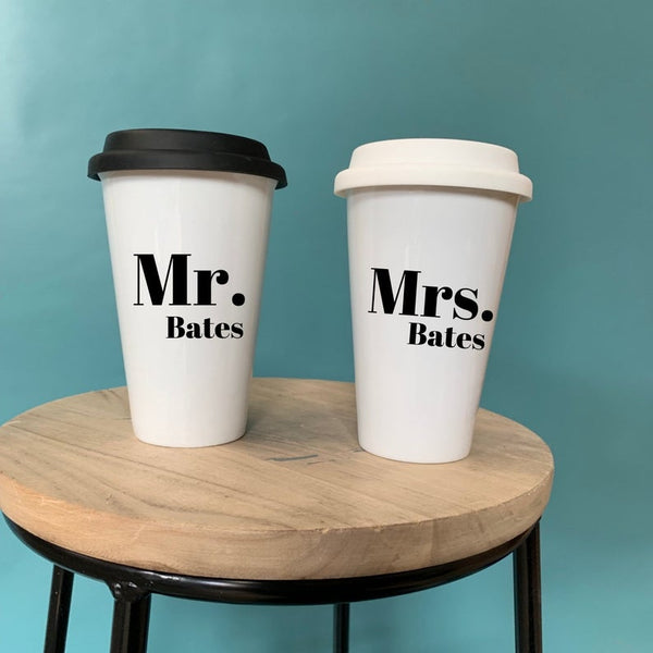 Mr & Mrs Travel Mug Set - Funny Travel Mug - Travel Cup - Ceramic Travel Cup