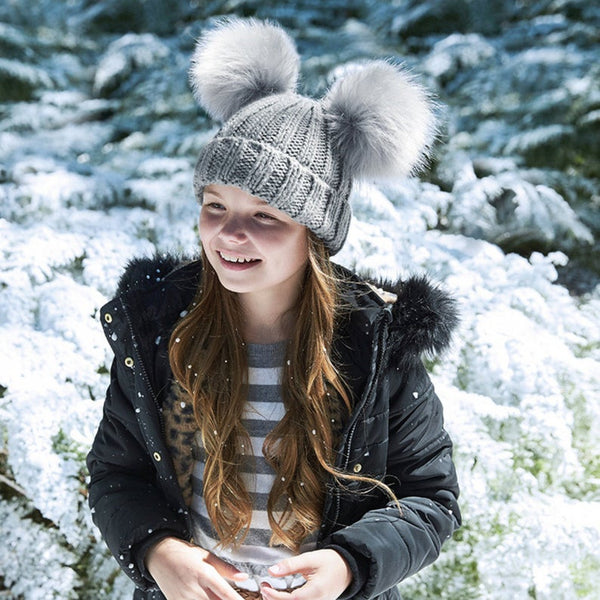 Double Pom Pom Kids Hat