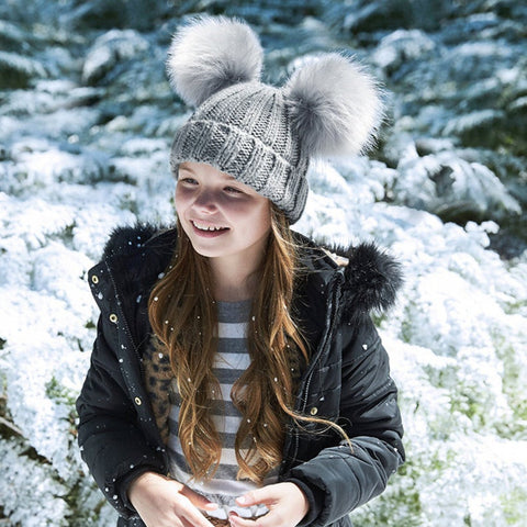 Double Pom Pom Hat - Kids