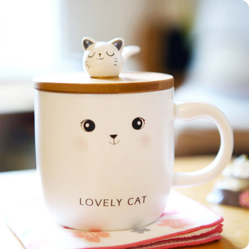 Tasse Chat Kawaii - Lovely Cat Gris Expression | Moshi Moshi