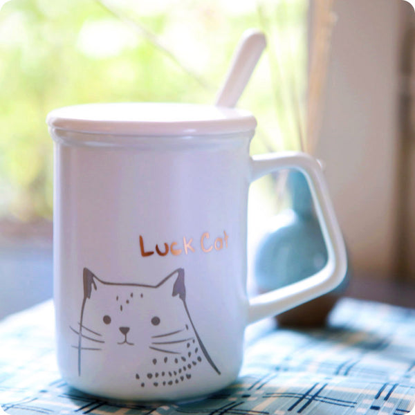Tasse Kawaii Chat - Lucky Cat Bleu | Moshi Moshi Japon