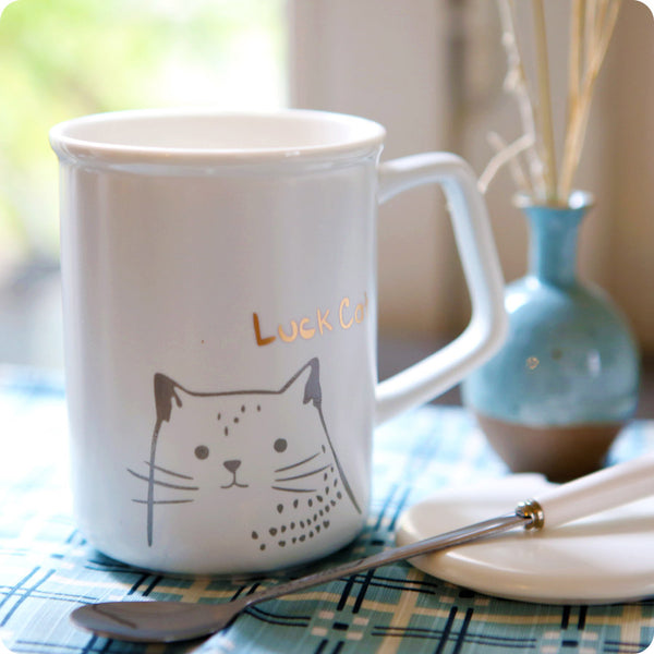 Tasse Kawaii Chat - Lucky Cat Gris | Moshi Moshi Japon Paris
