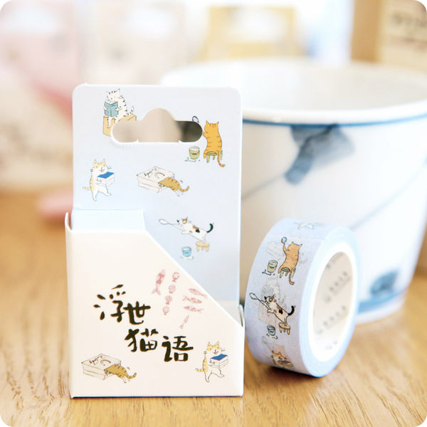 Masking Tape Chat Kawaii - Bleu | Moshi Moshi
