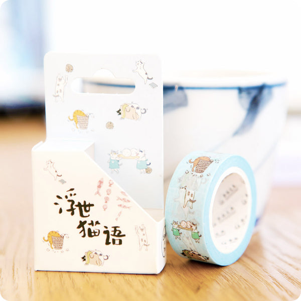 Washi Tape Chat Kawaii - Bleu Ciel | Moshi Moshi