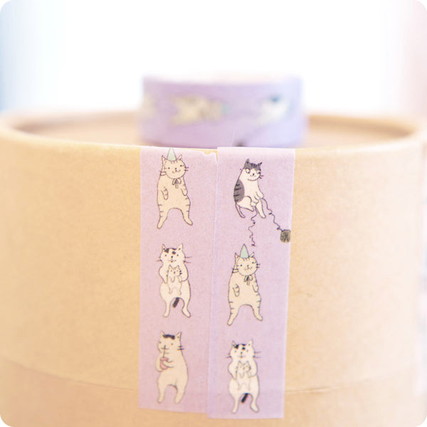 Washi Tape Kawaii - Chat Mauve | Moshi Moshi