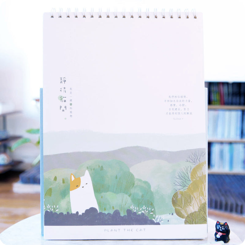 Carnet Sketch Book Chat, Kawaii Arbre | Moshi Moshi Papeterie Paris