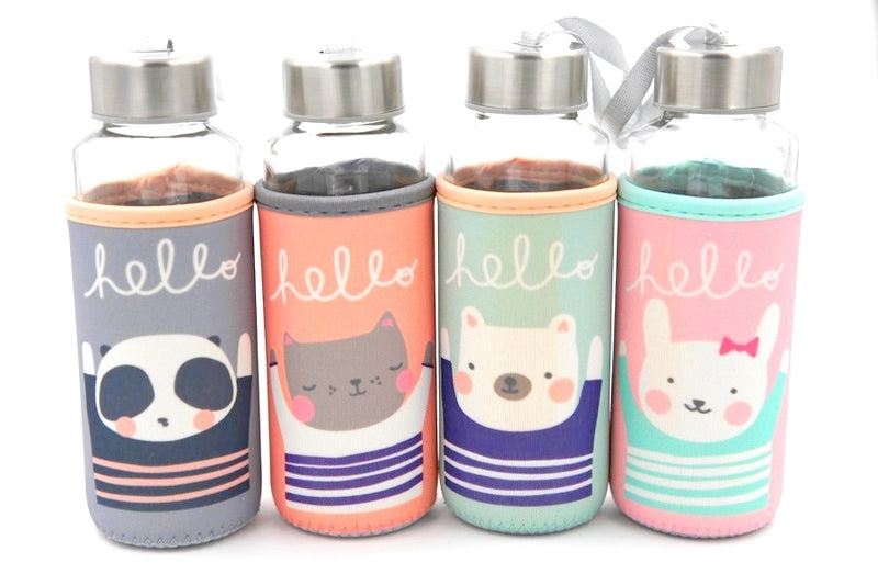 Gourde Kawaii en verre - Hello Animal, panda, chat, ours et lapin