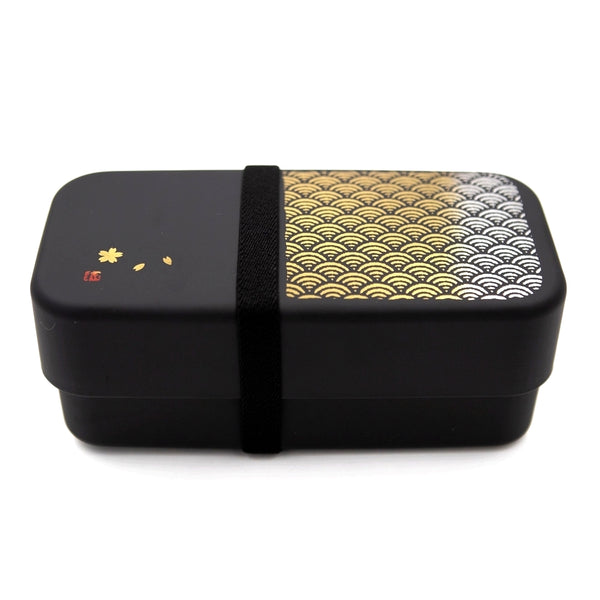 Bento lunch box Nori Noir anthracite 950ml avec un motif de vague or sur le côté, design et traditionnel, composé de 2 compartiments.