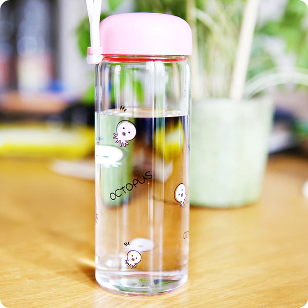 Gourde Kawaii en verre - Octopus rose