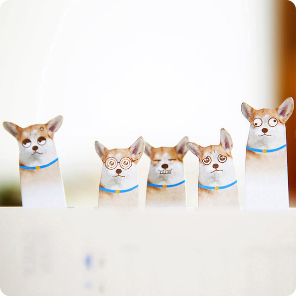 Marque page Post-it Stickers Kawaii - Chien Corgi | Moshi Moshi
