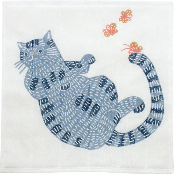 TORCHON JAPONAIS - TISSU CHAT BLEU | MADE IN JAPAN