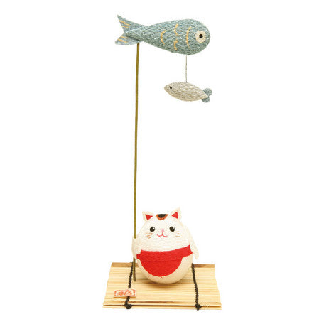 Figurine chat carpe poisson sur bambou - Japon | Moshi Moshi