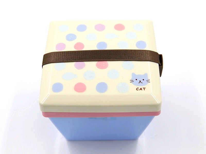 Bento Lunch Box Carré 2 compartiments CHAT mignon avec dessin ronds sur le couvercle