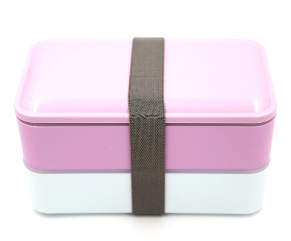 Bento lunch box design minimaliste, couleur mauve et blanc proposant 2 compartiments