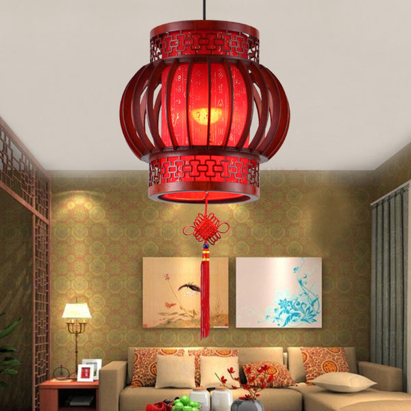 MODERN CHINESE SOLID WOOD HALL LANTERN - WeShop Singapore