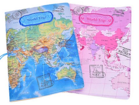 World map passport cover travel trip pvc leather pink blue sepia world map passport cover holder creative travel trip pvc leather passport holders in blue pink brown map cover case for card id money passport holders gumiabroncs Gallery