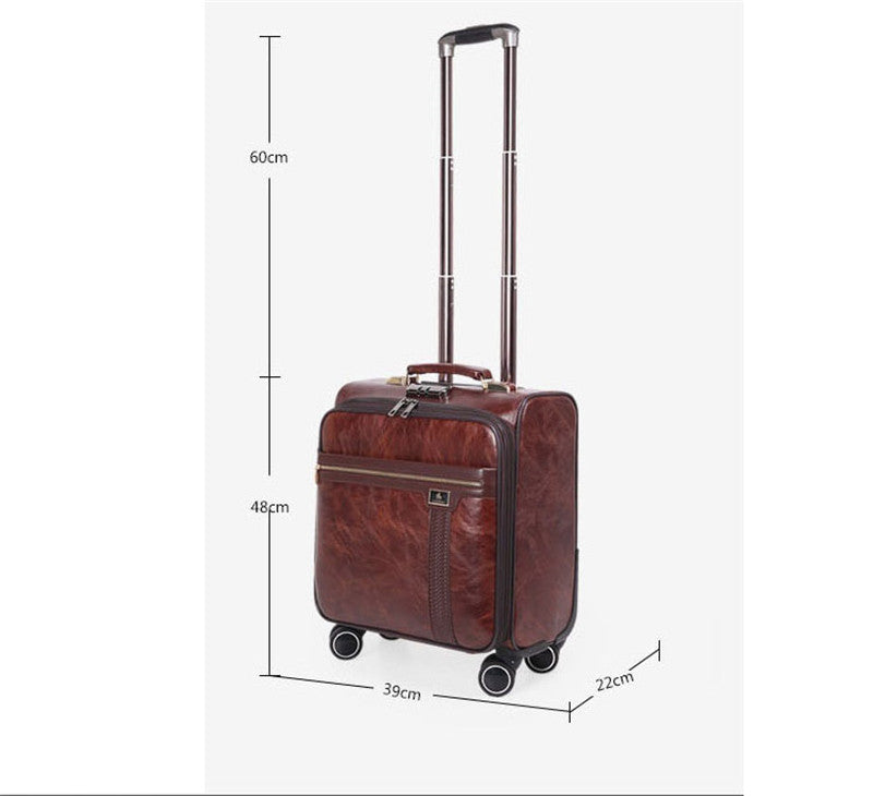 Quality Coffee Leather Trolley Luggage Case Designer Business Suitcase Rotate Wheels Travel Bags - Travell Well