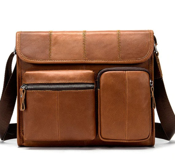 Men's Leather Messenger Casual Crossbody Shoulder Handbag - Travell Well