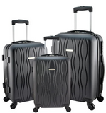 "Designer Travel Luggage 3 Pc Black Suitcase Spinner Wheel 20"" 24"" 28"" Suitcases Scratch-Resistant - Travell Well"