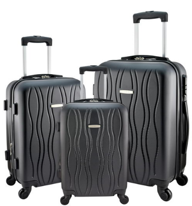 "7eeb5acbd21f Designer Travel Luggage 3 Pc Black Suitcase Spinner Wheel 20"" 24"" 28""  Suitcases Scratch-Resistant"