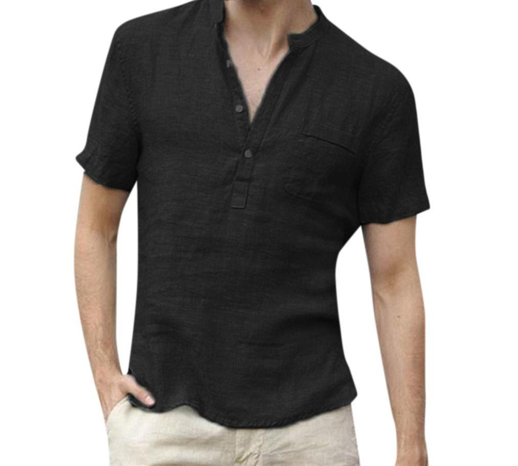 Men's V-Neck Shirt Black Short Sleeve Henley Collar Hawaiian Beach Style Button Up Tops S-3XL - Travell Well