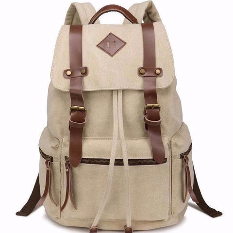 Quality Canvas Designer Backpack Genuine Leather Sraps Vintage Rucksack Heavy Duty Travell Well in Stylish Green Satchel