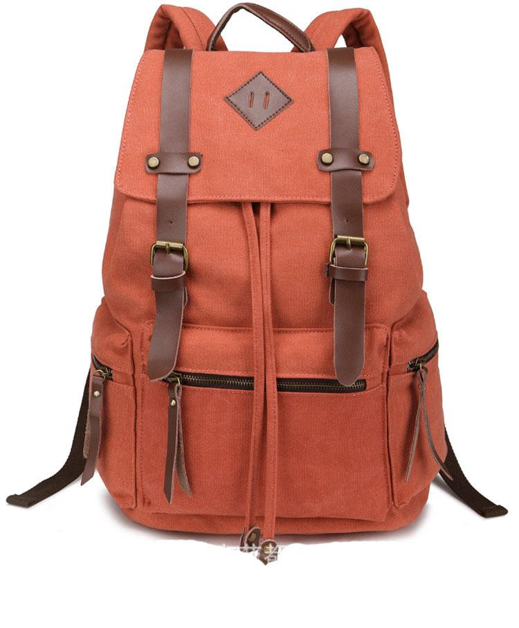 Vintage Canvas Backpack Rucksack Brown Leather Military Men Women's School Bag Mochilas Laptop Backpack Escolares Multi-Colors - Travell Well