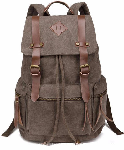 Vintage Canvas Backpack Rustic Rucksack Charcoal Grey Sac à dos Mochila Gray Distressed Black School Bag Laptop Carry On Travel Bag