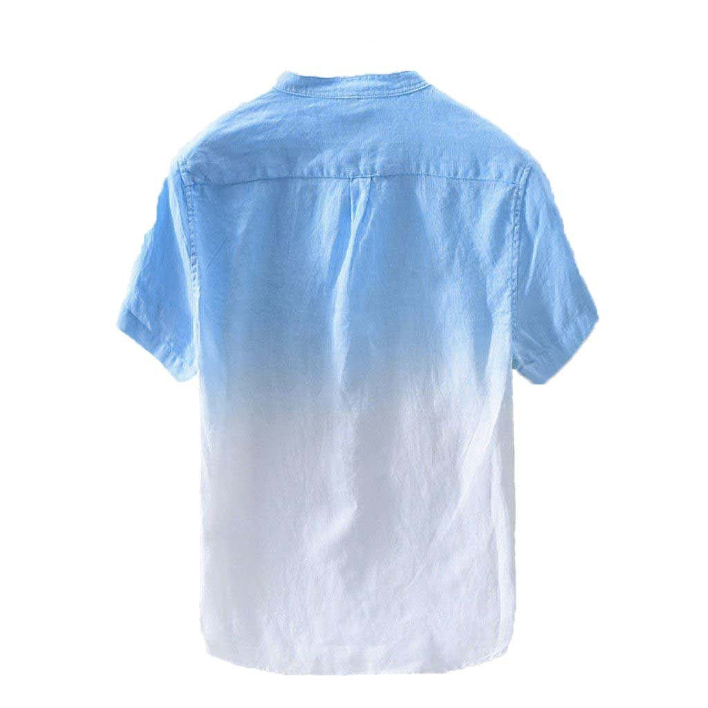 Summer Shirts Cool Thin Breathable Cotton Button Collar Mens Blue Top Gradient Dye Color Shirt L 2X - Travell Well