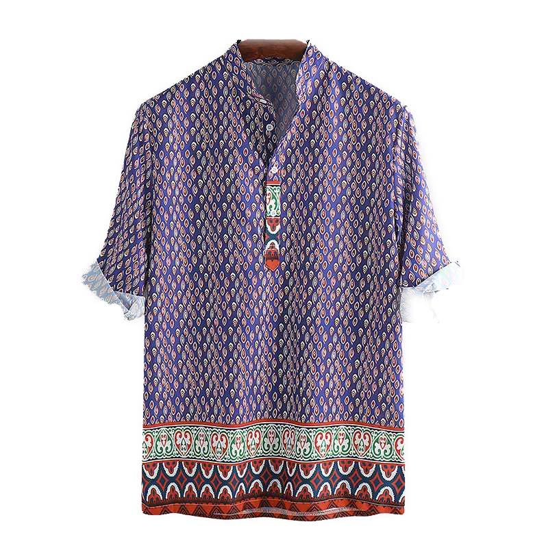 Men's Dress Shirt Vintage Bohemian Hawaiian Style Shirts Green Pullover Collar Men Tops M-3XL - Travell Well