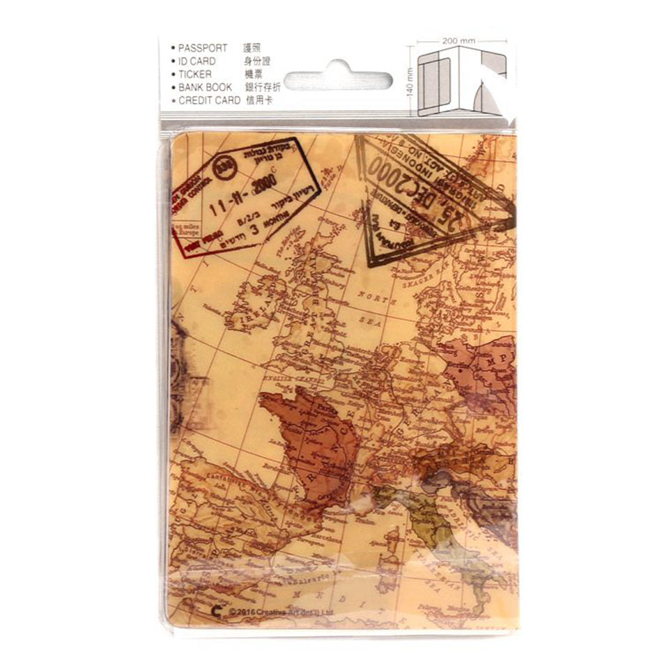 World Map Passport Cover Creative PVC Leather Travel Passport Holder Case ID Credit Card Holders - Travell Well