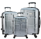 Travel Luggage Designer 3 Piece Silver Spinner Suitcase Set Dark Gray, Red, Gold Luggage Sets - Travell Well