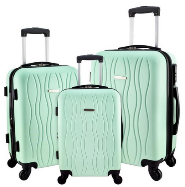 "2c082ae8b733 Designer Travel Luggage 3 Pc Suitcase Set Spinner 360 Wheel 20"" 24"" 28""  inch Suitcases Travell Well"