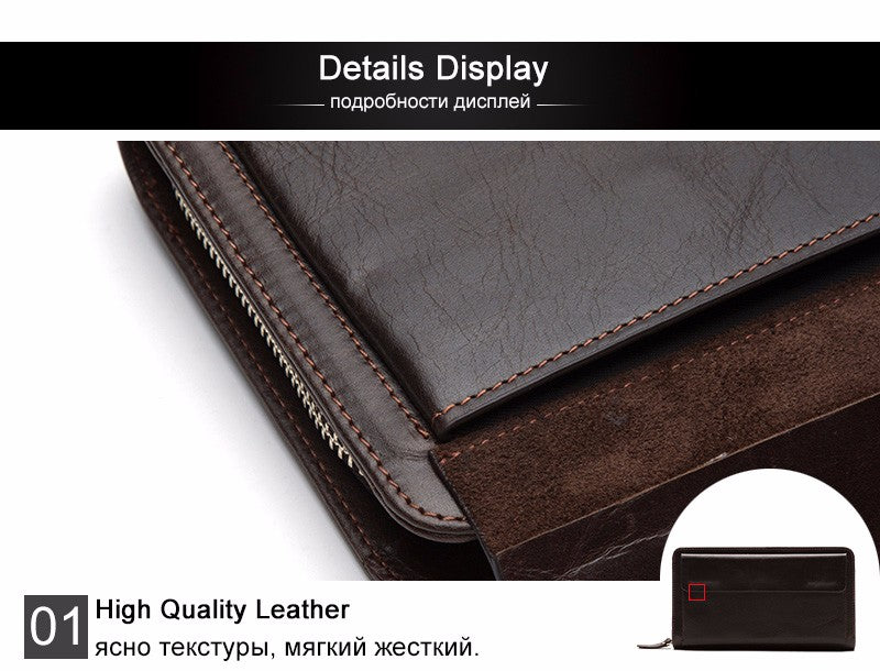 Genuine Leather Wallets Phone Men's Leather Wallets Long Wallet Clutch Money Clip Wallet - Travell Well