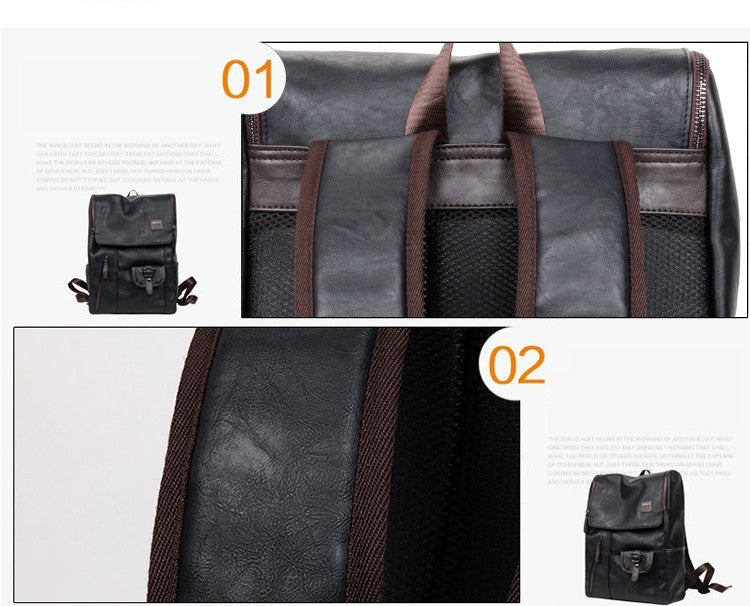 Stylish Bag Oil Wax Leather Backpacks Fashion Laptop School Bags Rucksack Mochila Zip Casual Travel Daypacks - Travell Well