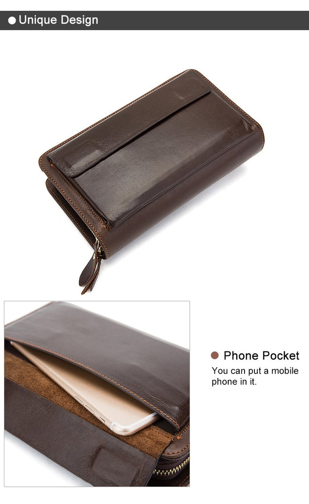 Best Travel Wallet Money Clip Clutch Men's Genuine Leather Wallets Black Brown Wallets Leather Bag - Travell Well