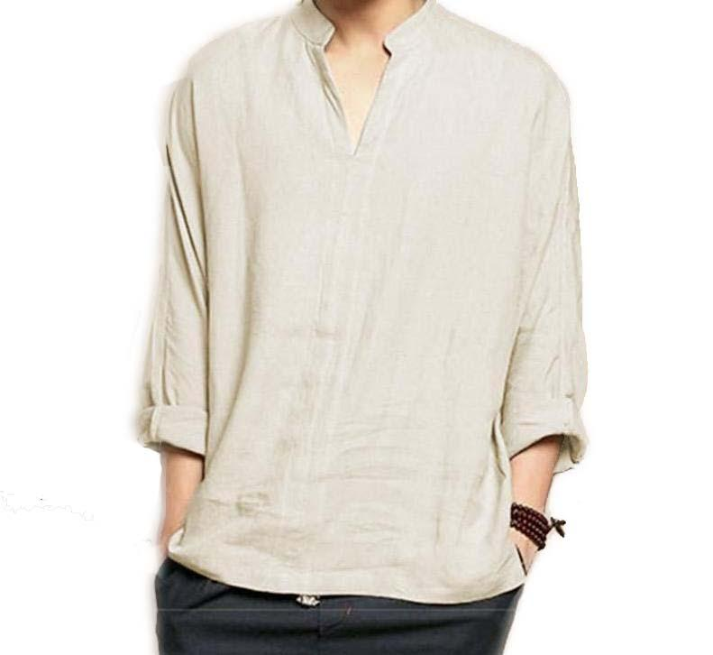 Vintage Classic V-Neck Long Sleeve Shirt Culture Retro Cotton Linen Tee Shirts Gray Tops S-XX - Travell Well