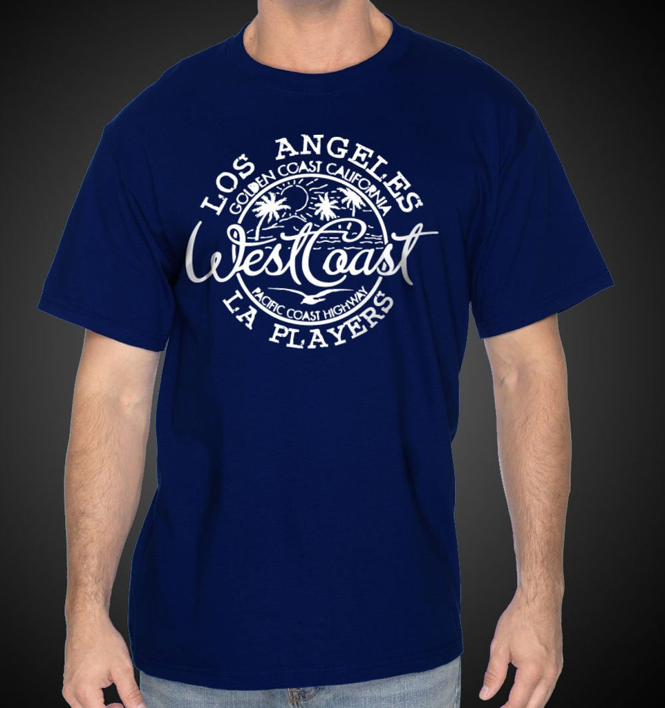 West Coast T-Shirt Blue LA Westcoast Cali Tee Shirt - Travell Well