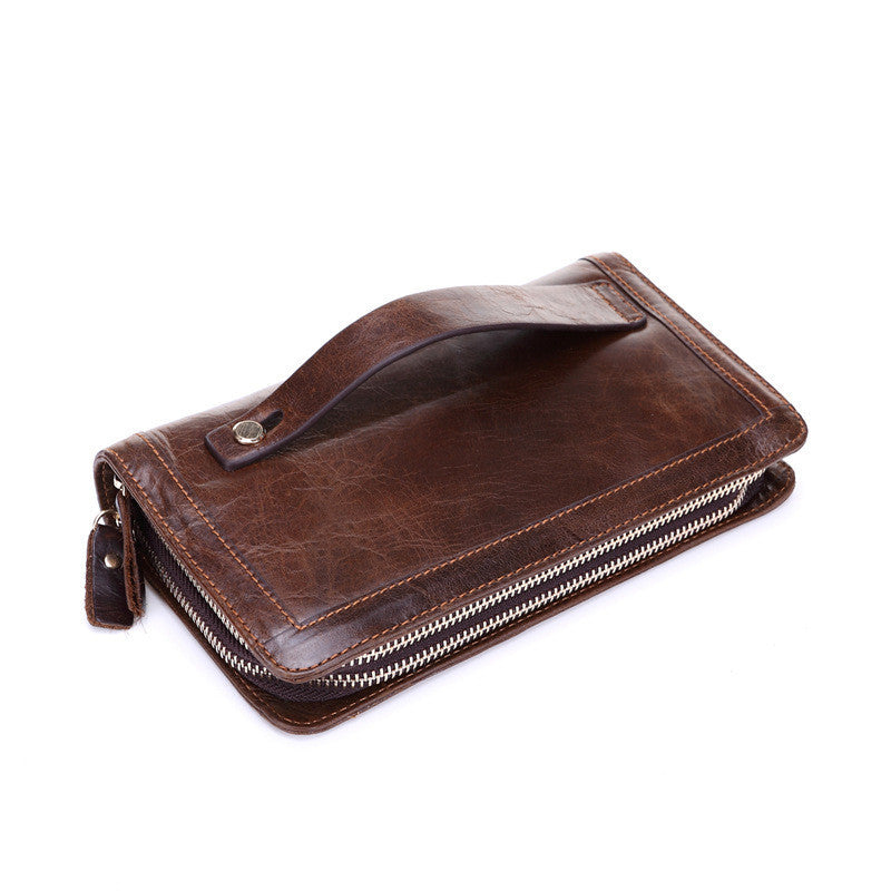 d24ea38beec9 Genuine Leather Man Wallet Card Holder Credit Card Coin Large Capacity  Clutch Men Long Wallets