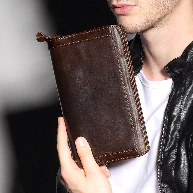 Genuine Leather Man Wallet Card Holder Credit Card Coin Large Capacity Clutch Men Long Wallets - Travell Well