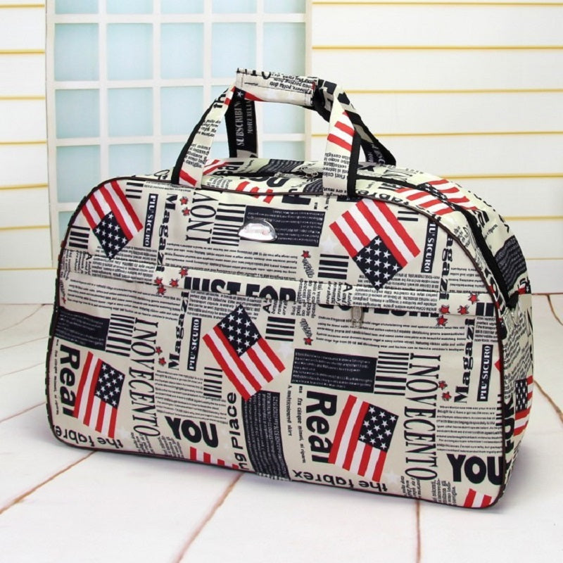 Travel Bag Carry-On Waterproof Weekender Stylish American USA Flag Mini Suitcase Top Hangle Duffle - Travell Well